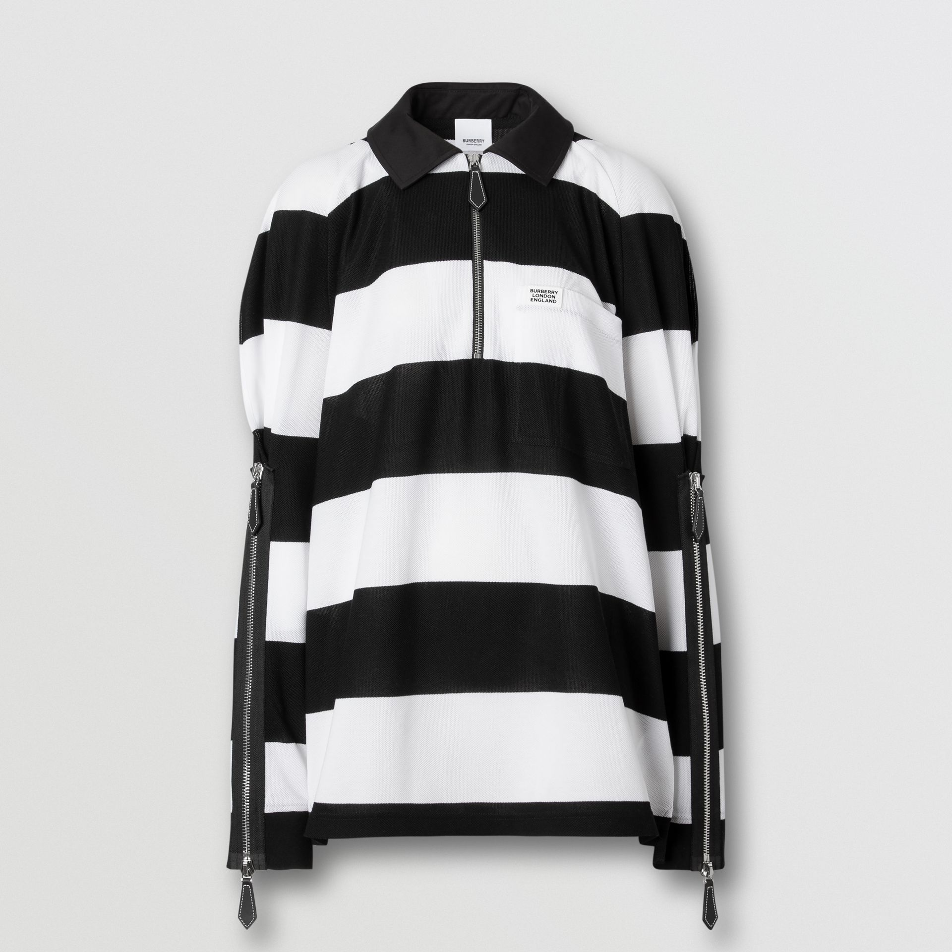 Zip Detail Striped Cotton Piqué Oversized Rugby Shirt in Black/white - Women | Burberry - gallery image 3