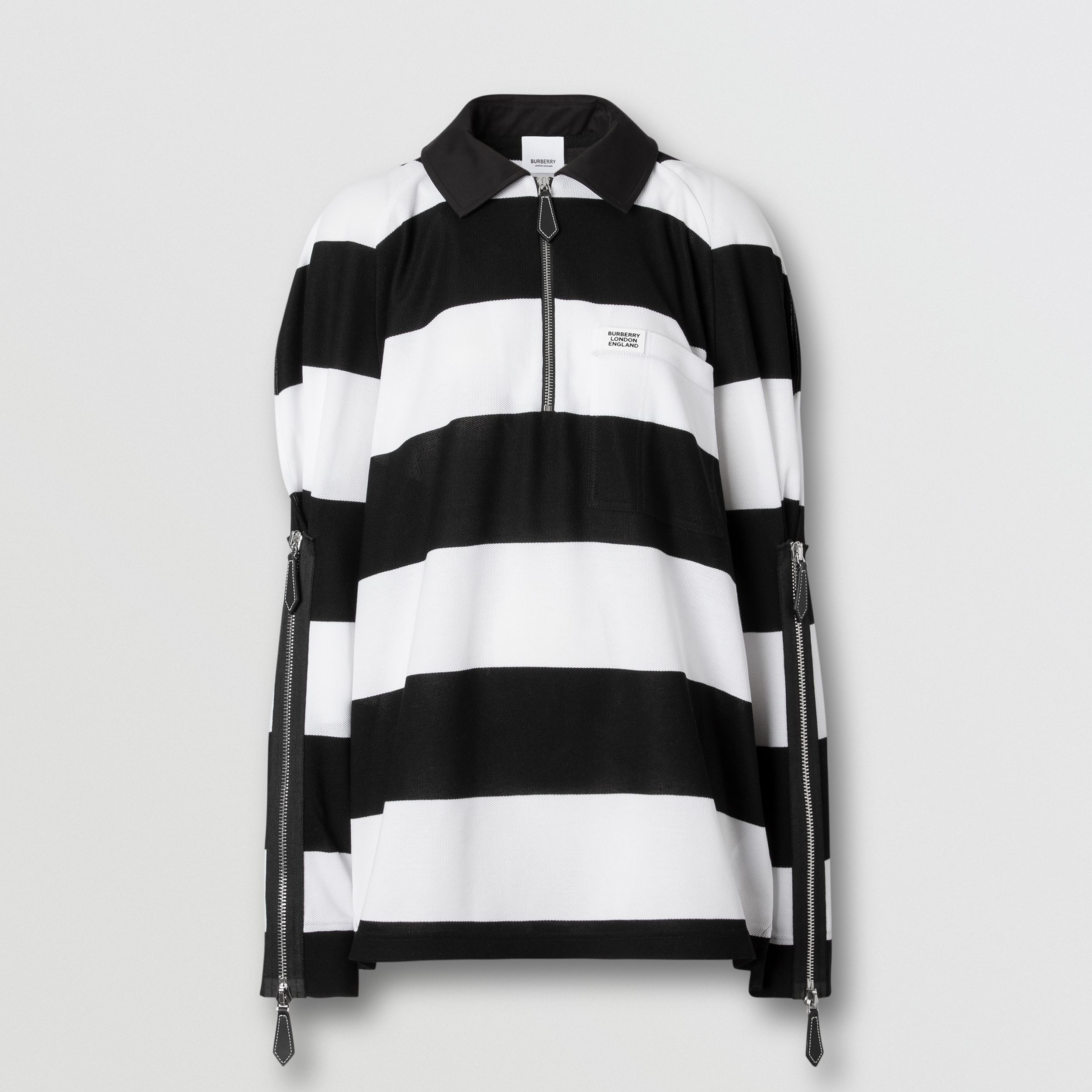 Zip Detail Striped Cotton Piqué Oversized Rugby Shirt in Black/white - Women | Burberry - 4