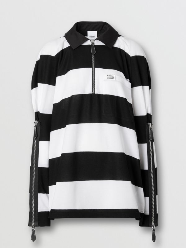 Zip Detail Striped Cotton Piqué Oversized Rugby Shirt in Black/white - Women | Burberry - cell image 3