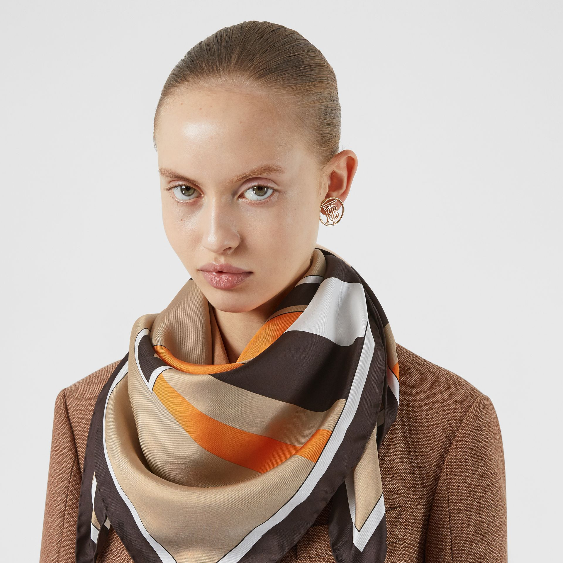 Monogram and Icon Stripe Print Silk Square Scarf in Archive Beige | Burberry Australia - gallery image 2