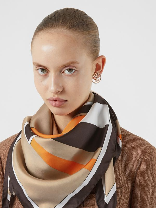 Monogram and Icon Stripe Print Silk Square Scarf in Archive Beige | Burberry Australia - cell image 2