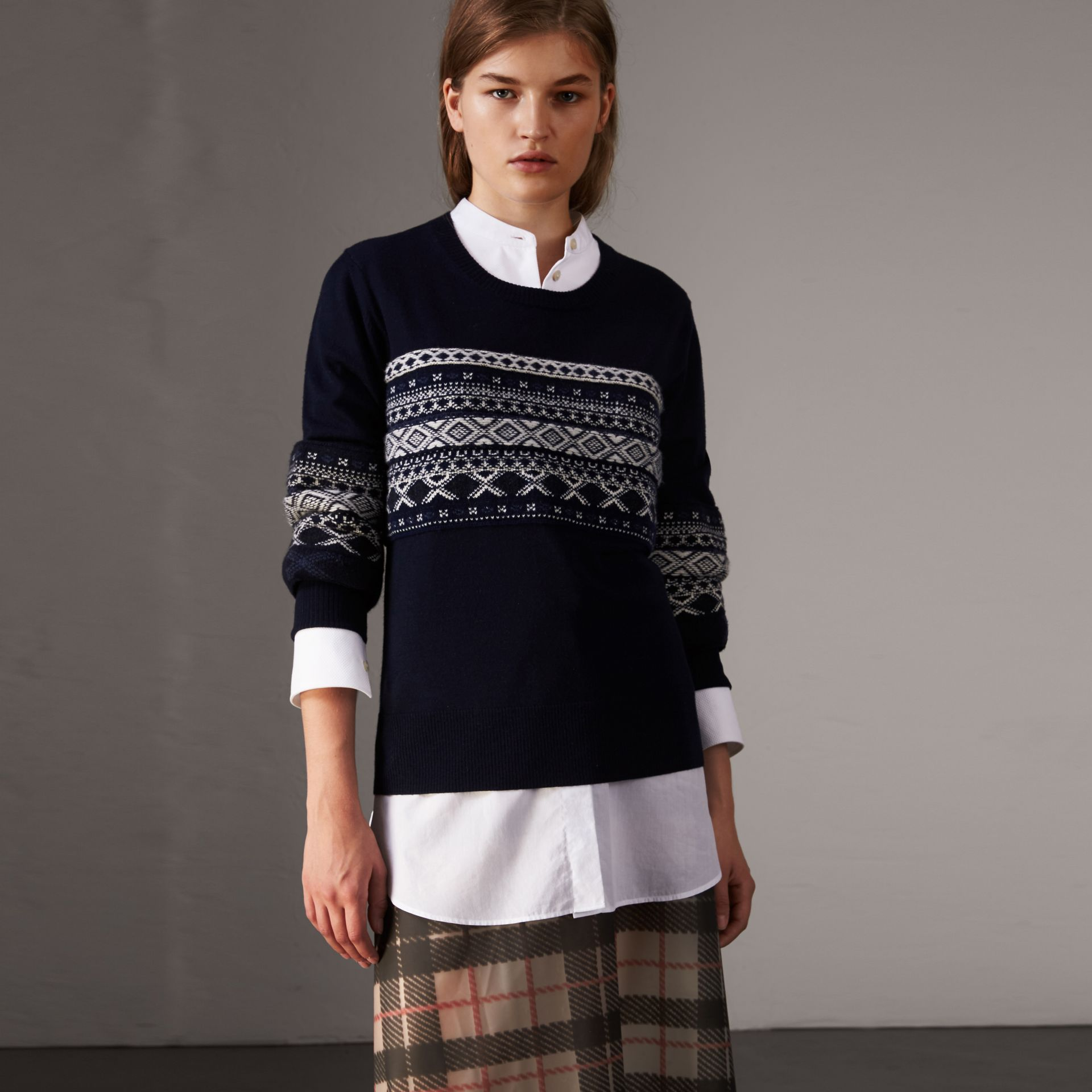 Fair Isle Detail Merino Wool Sweater in Navy - Women | Burberry United States - gallery image 0