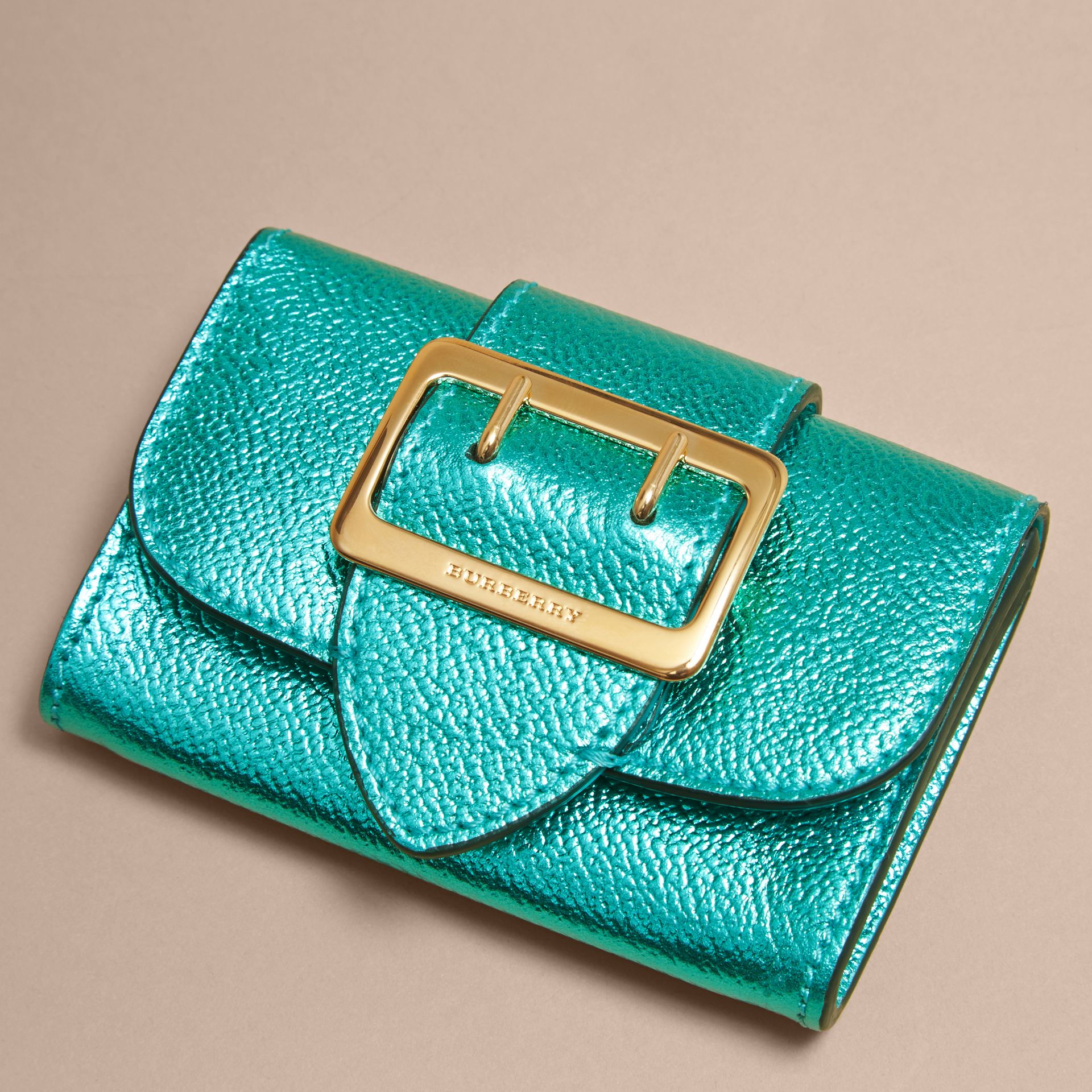 Metallic Leather Card Case in Emerald - gallery image 3