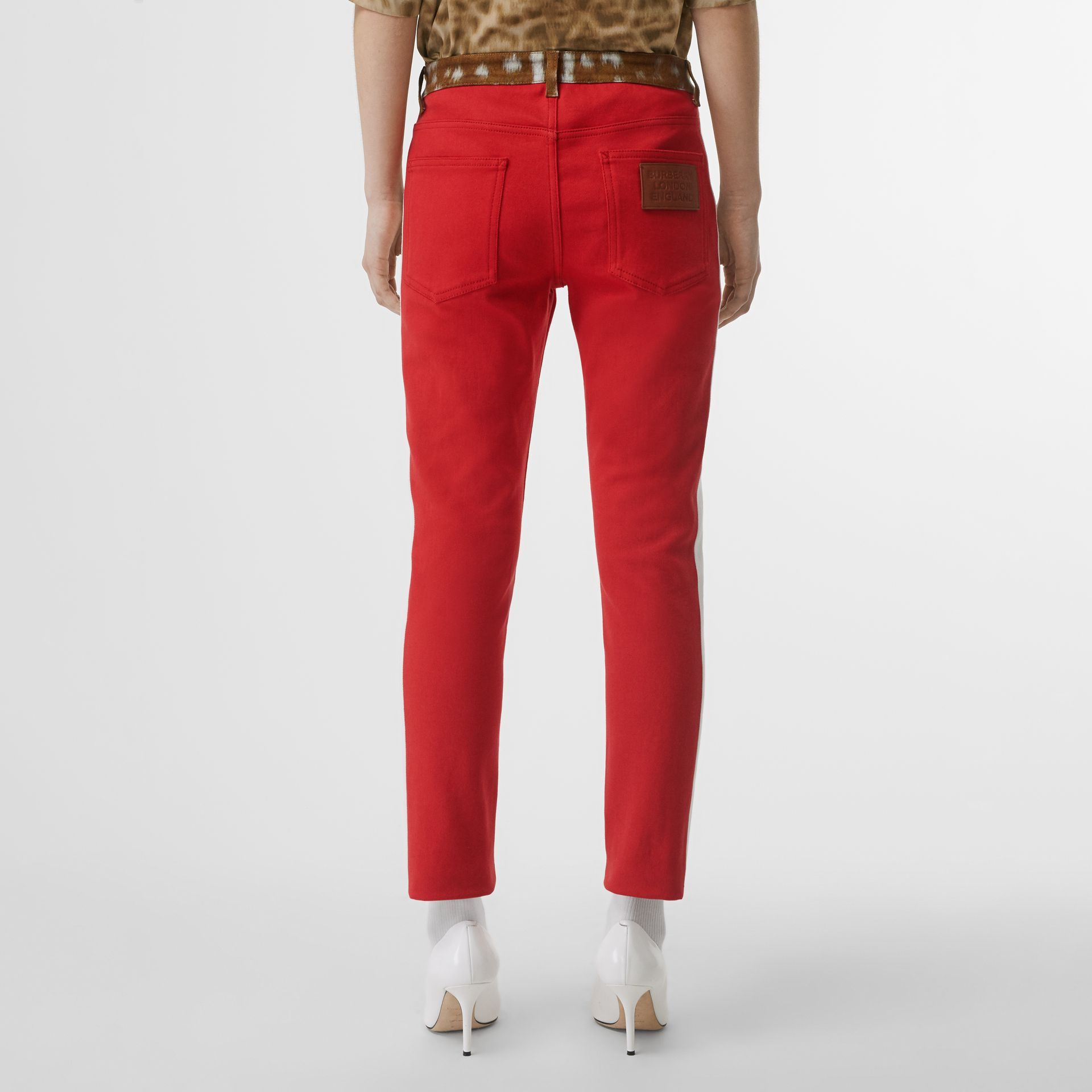 Straight Fit Deer Print Trim Japanese Denim Jeans in Bright Red - Women | Burberry - gallery image 2