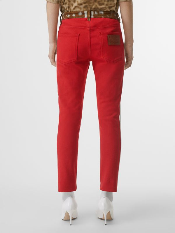 Straight Fit Deer Print Trim Japanese Denim Jeans in Bright Red - Women | Burberry - cell image 2