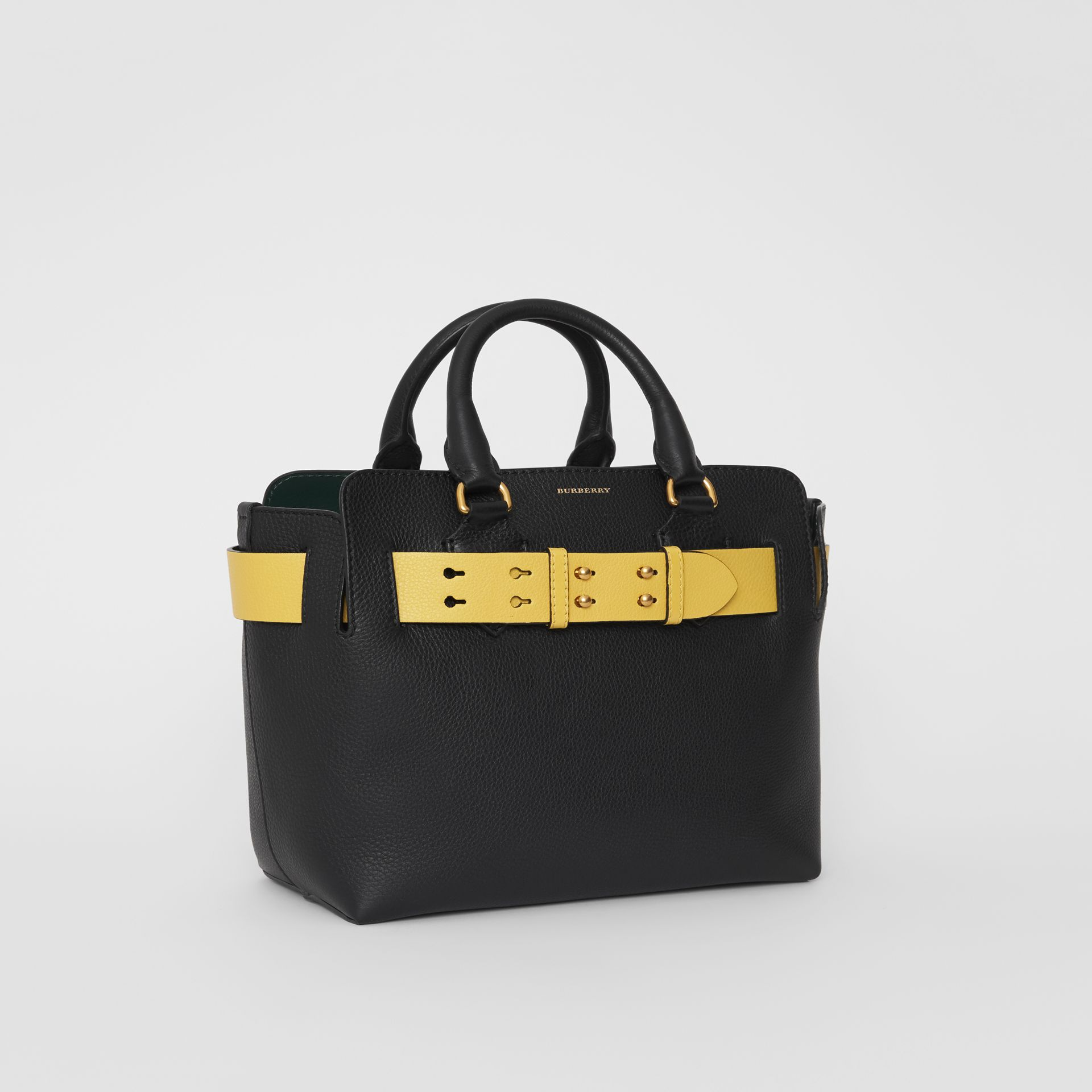 The Small Leather Belt Bag in Black/yellow - Women | Burberry United Kingdom - gallery image 6