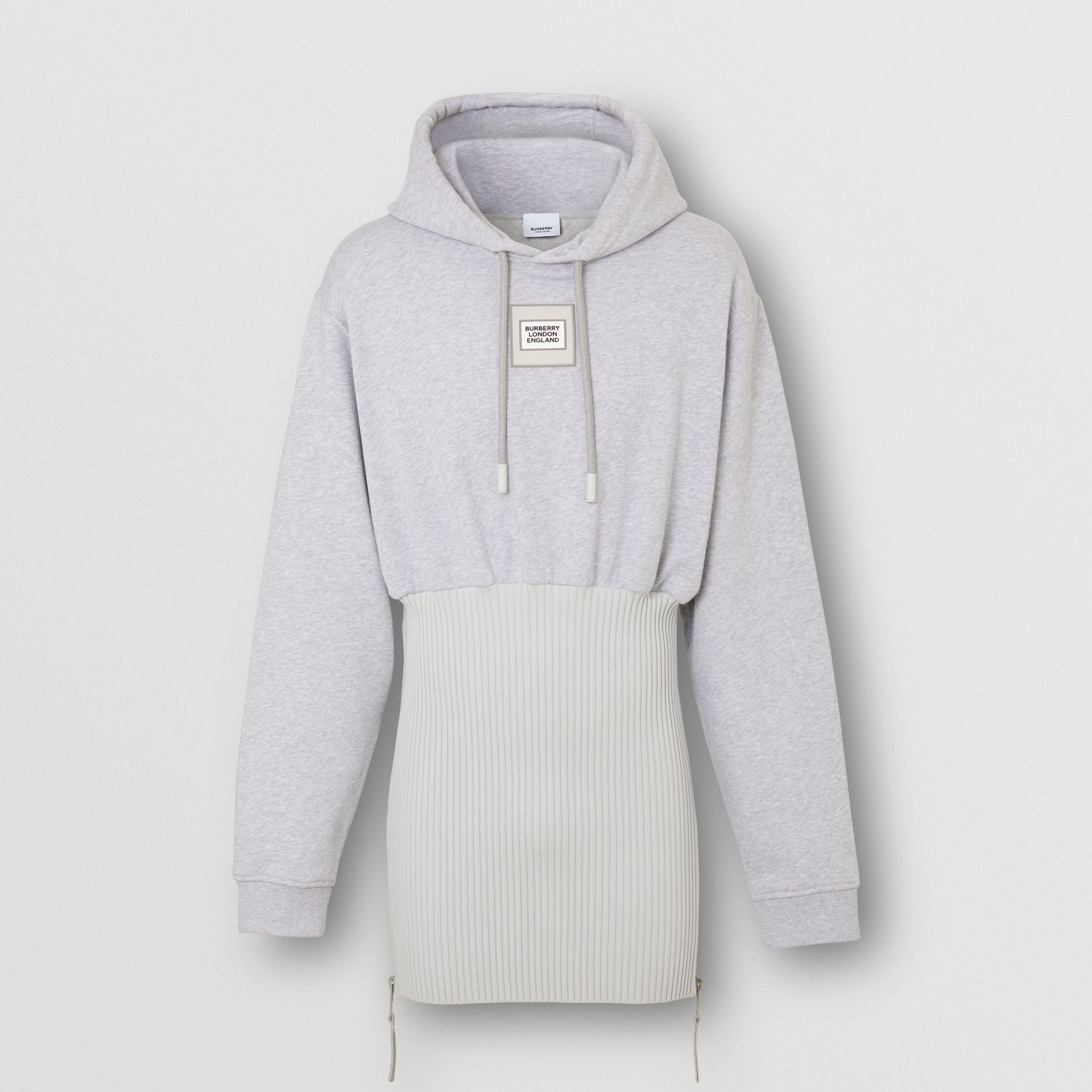 Reconstructed Cotton Hoodie in Light Pebble Grey | Burberry Canada - gallery image 3