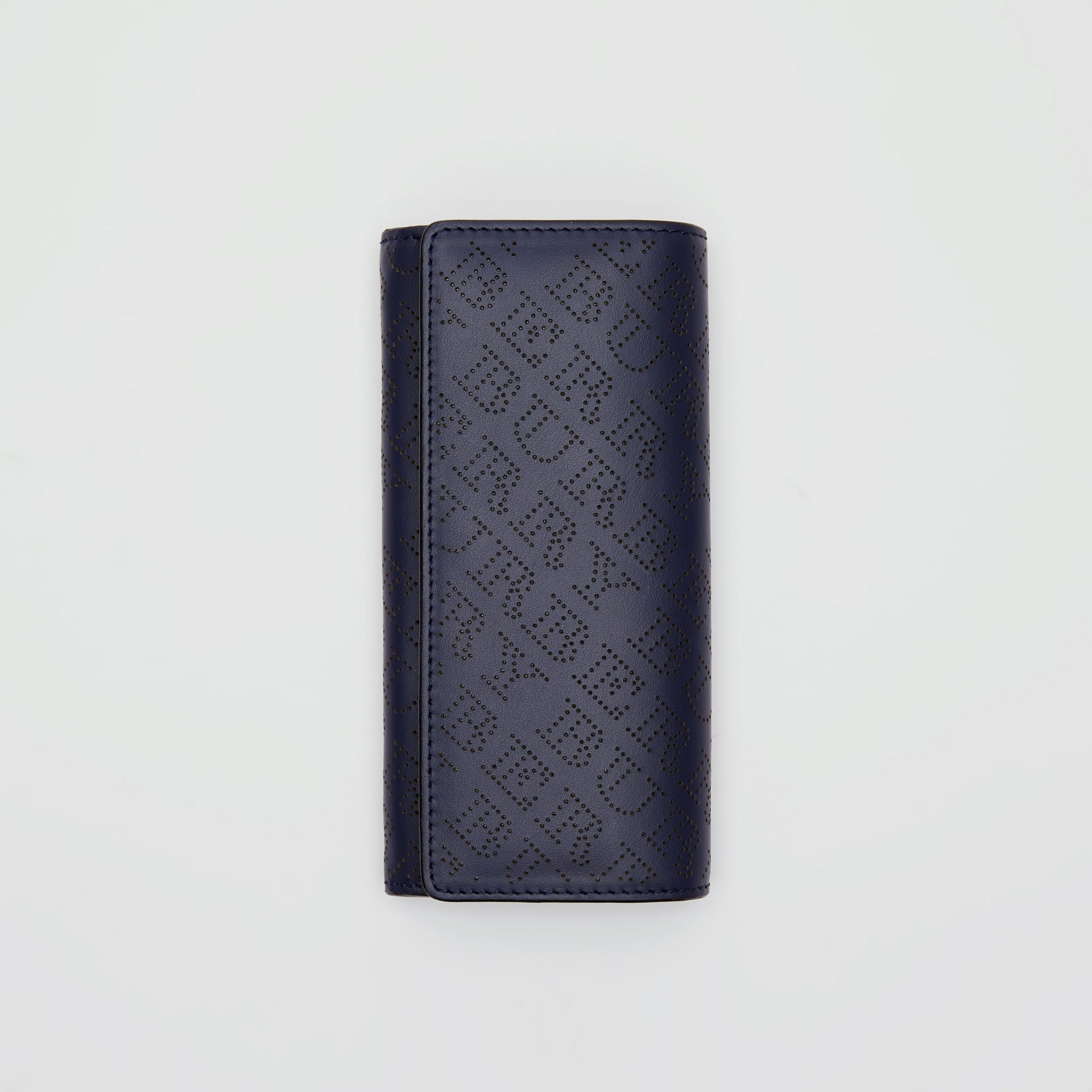 Perforated Logo Leather Continental Wallet in Navy - Women | Burberry - gallery image 2