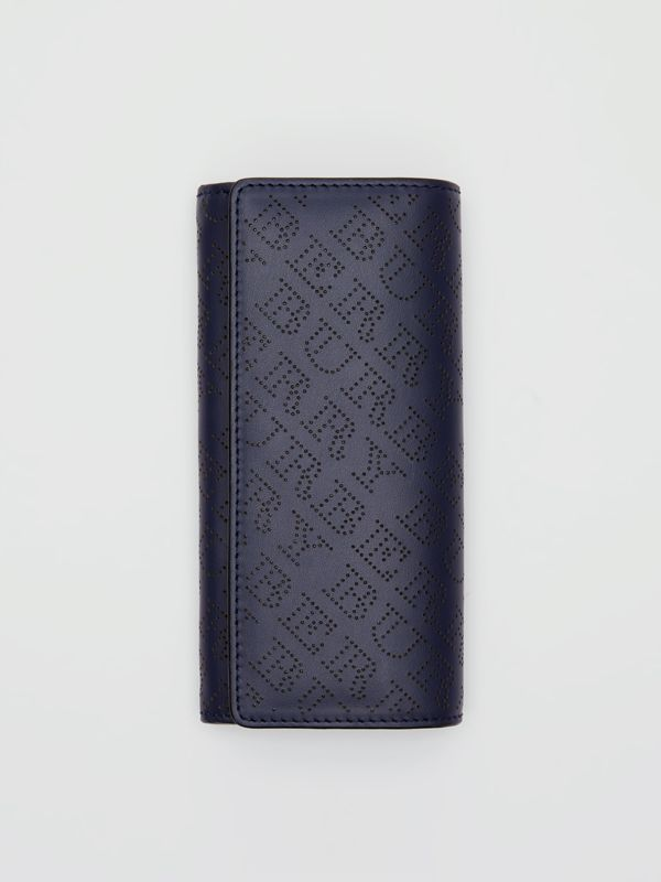 Perforated Logo Leather Continental Wallet in Navy - Women | Burberry - cell image 2