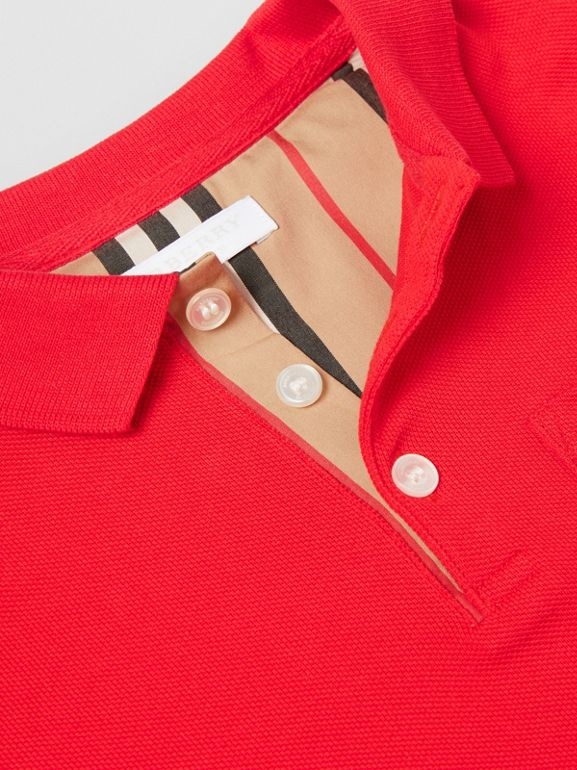 Icon Stripe Placket Cotton Piqué Polo Shirt in Bright Red | Burberry United States - cell image 1