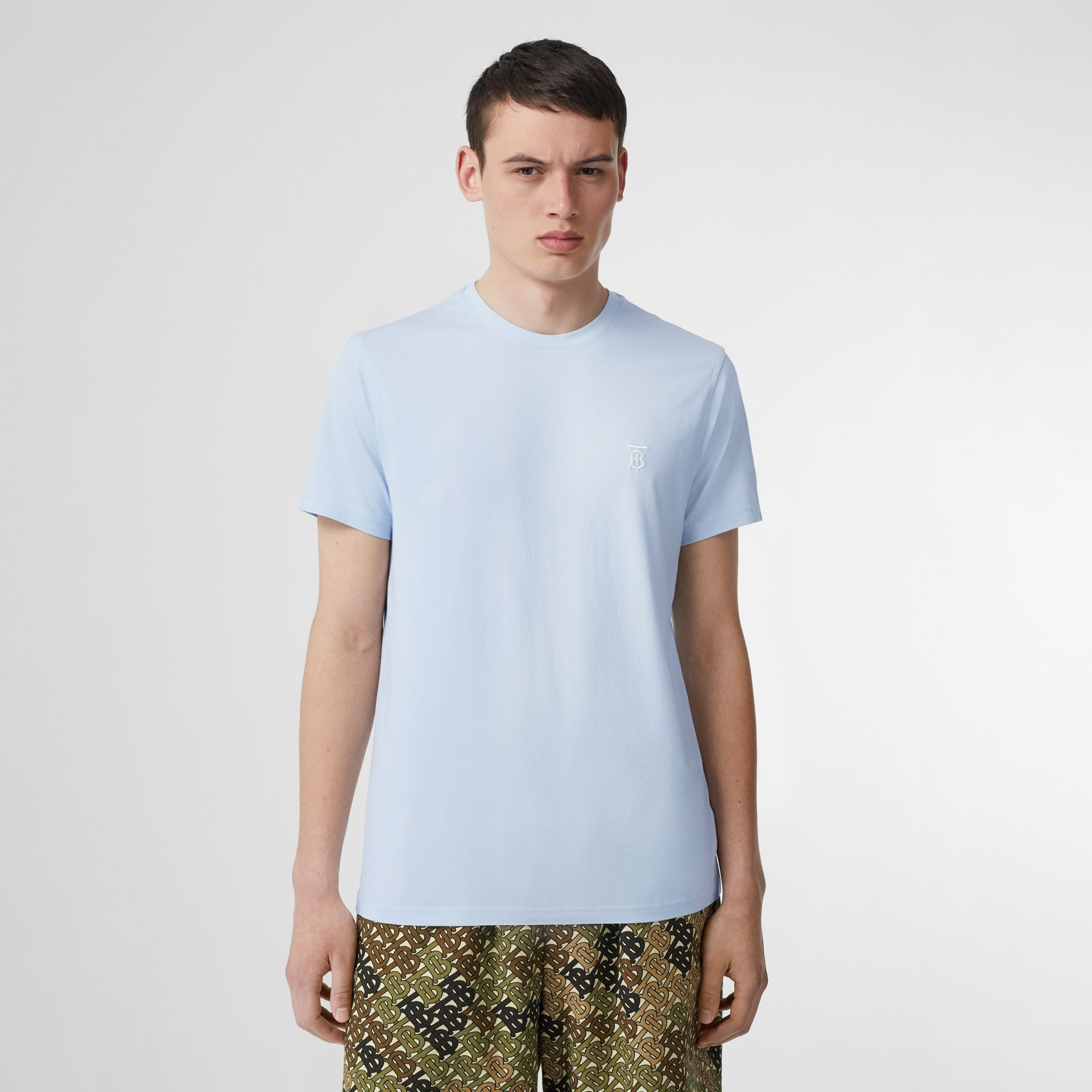 Monogram Motif Cotton T-shirt in Pale Blue - Men | Burberry United Kingdom - gallery image 0