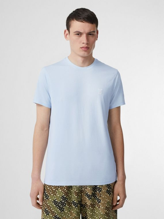 Monogram Motif Cotton T-shirt in Pale Blue