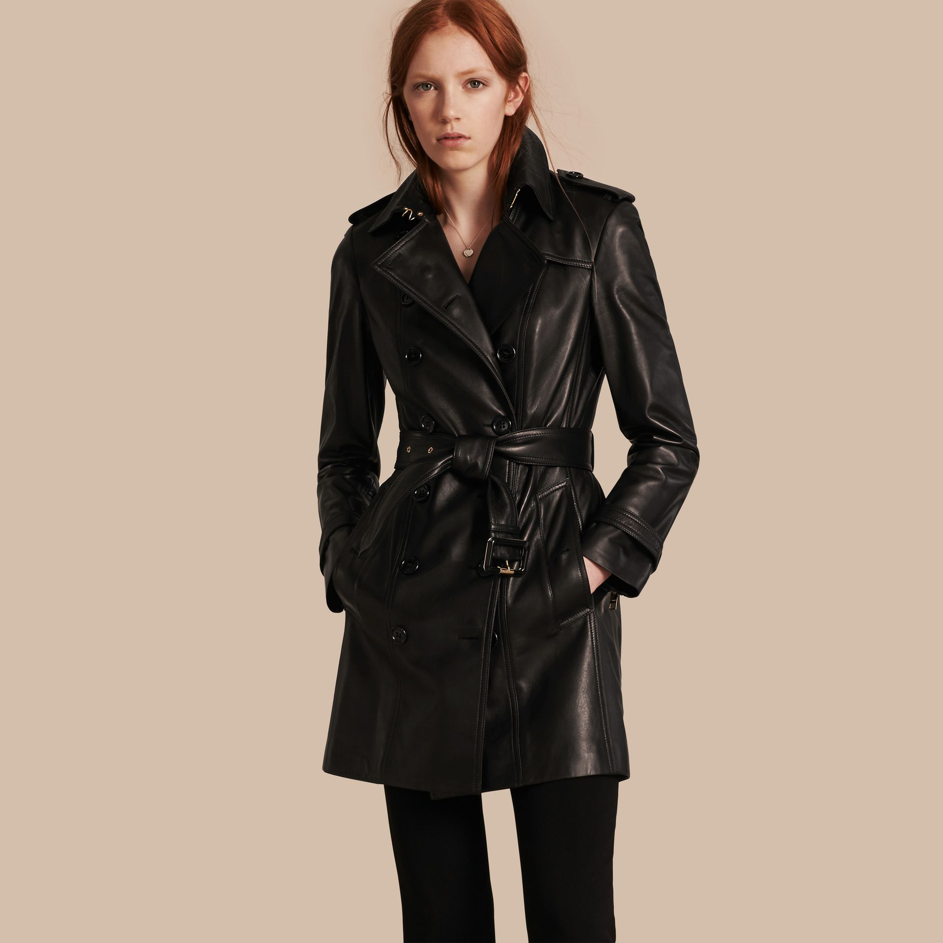 Lambskin Trench Coat - gallery image 1