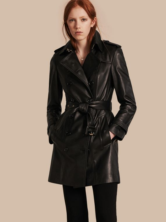 Trench coat in pelle di agnello