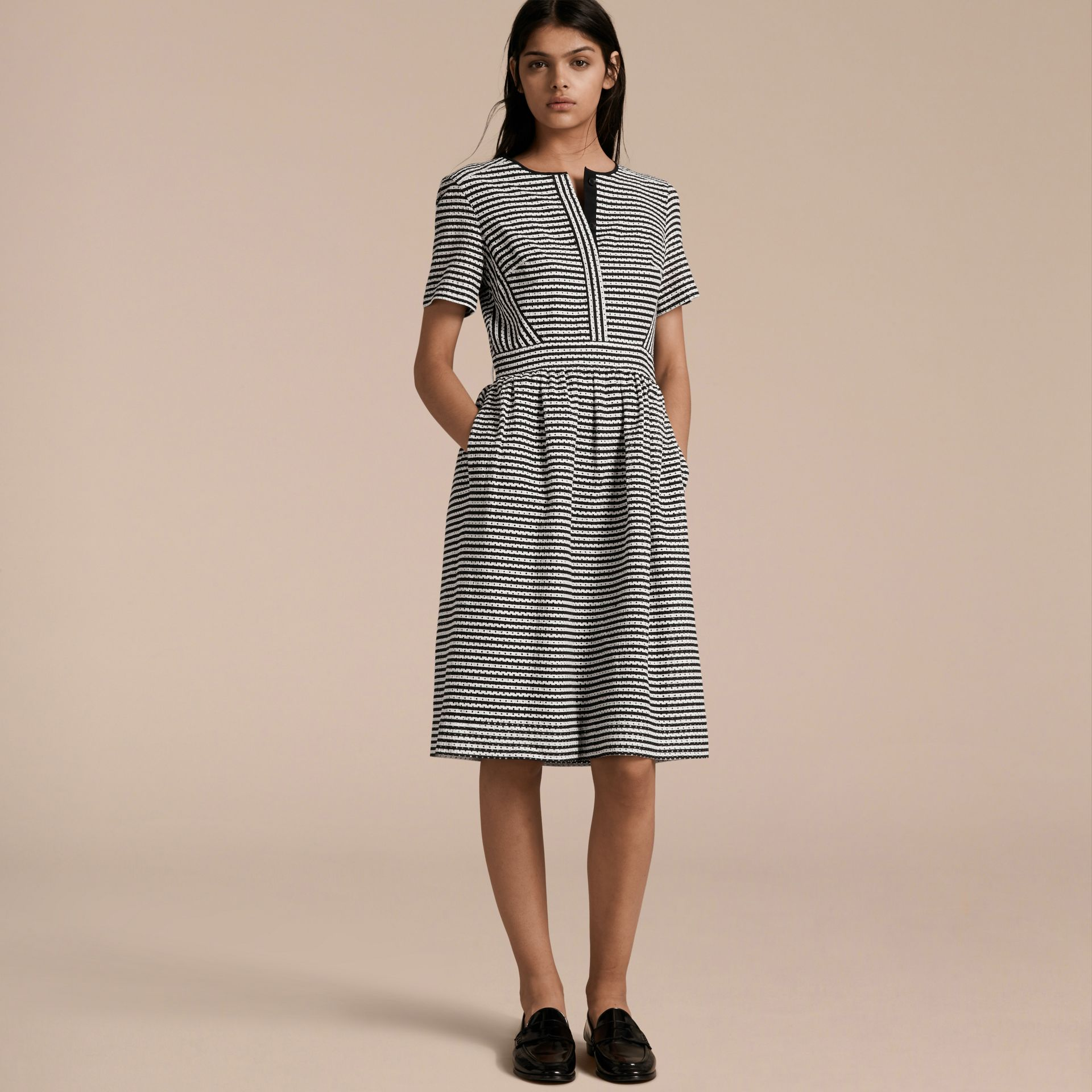 Black Striped Cotton Broderie Dress - gallery image 6