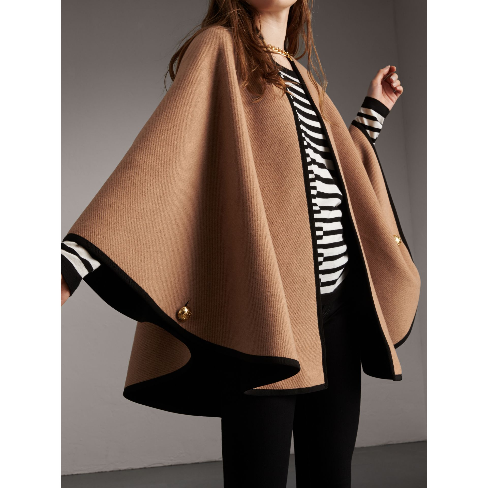 Wool Cashmere Military Cape in Camel/black - Women | Burberry Singapore - gallery image 6