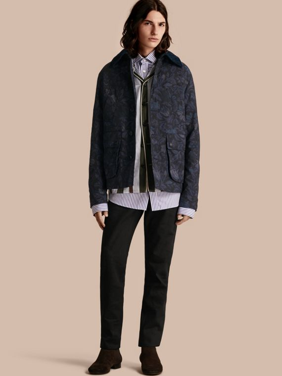 Floral Jacquard Field Jacket with Corduroy Collar
