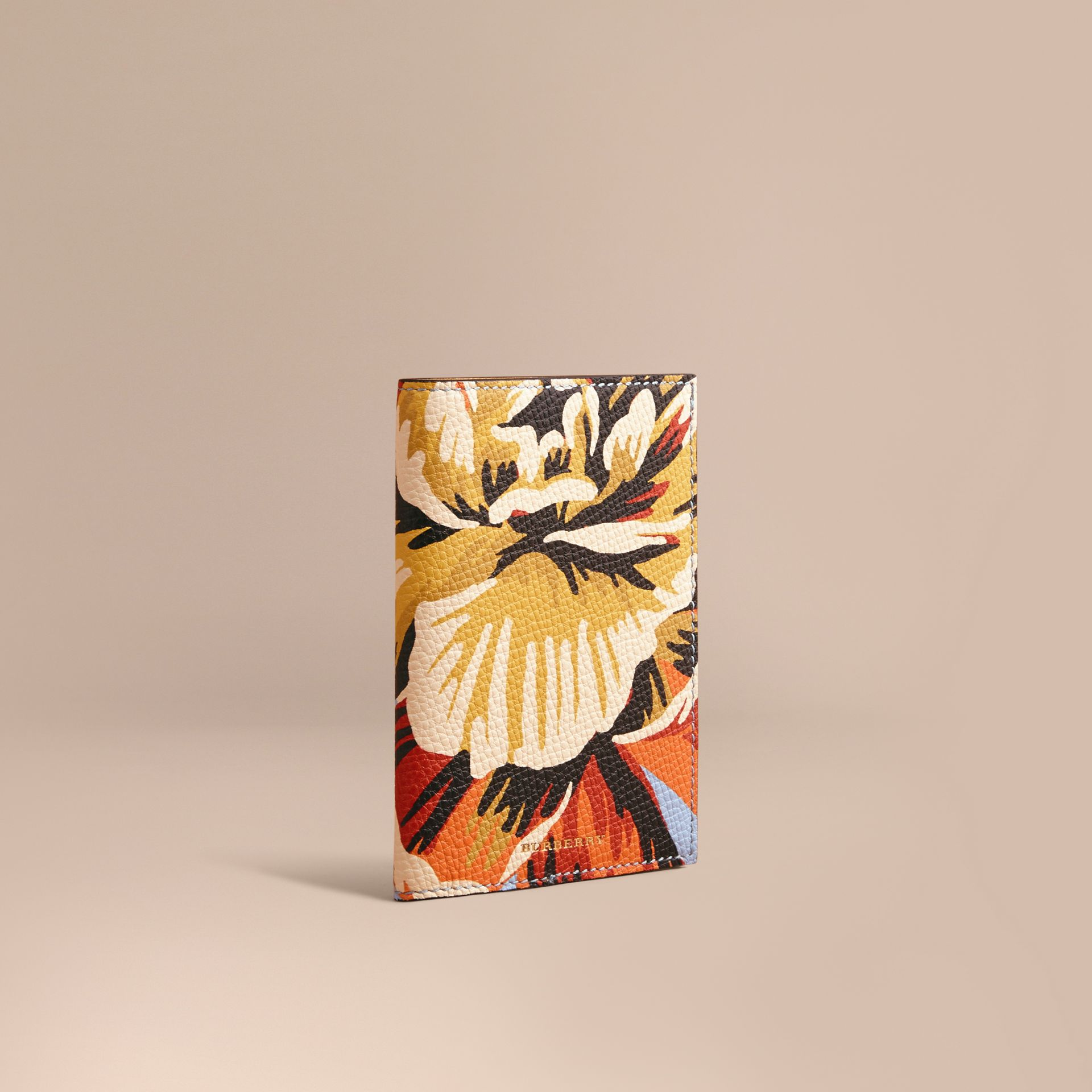 Peony Rose Print Leather Passport Cover in Pale Blue/vibrant Orange | Burberry - gallery image 1
