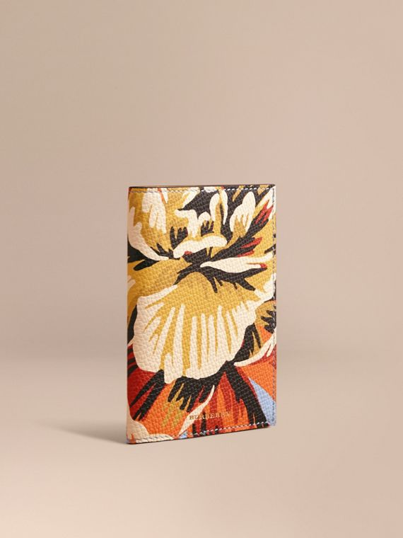 Peony Rose Print Leather Passport Cover Pale Blue/vibrant Orange