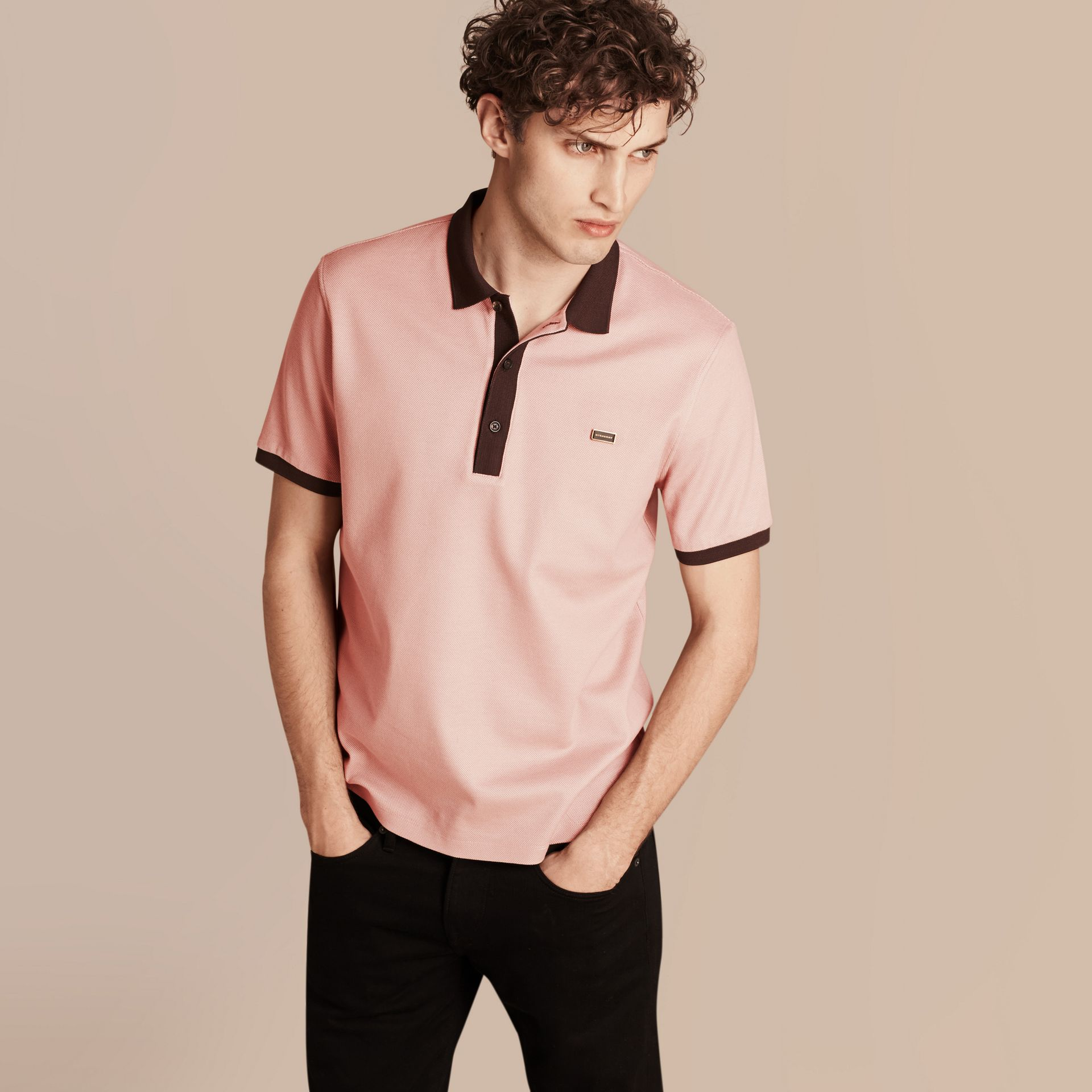 Slate pink/burgundy red Mercerised Cotton Piqué Polo Shirt Slate Pink/burgundy Red - gallery image 1