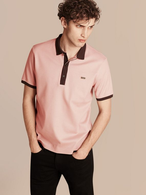 Mercerised Cotton Piqué Polo Shirt Slate Pink/burgundy Red
