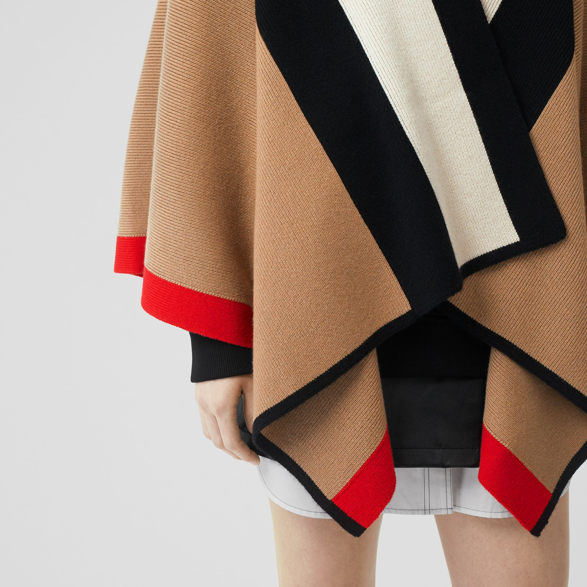 Striped Wool Cashmere Cape in Archive Beige - Women | Burberry - gallery image 4