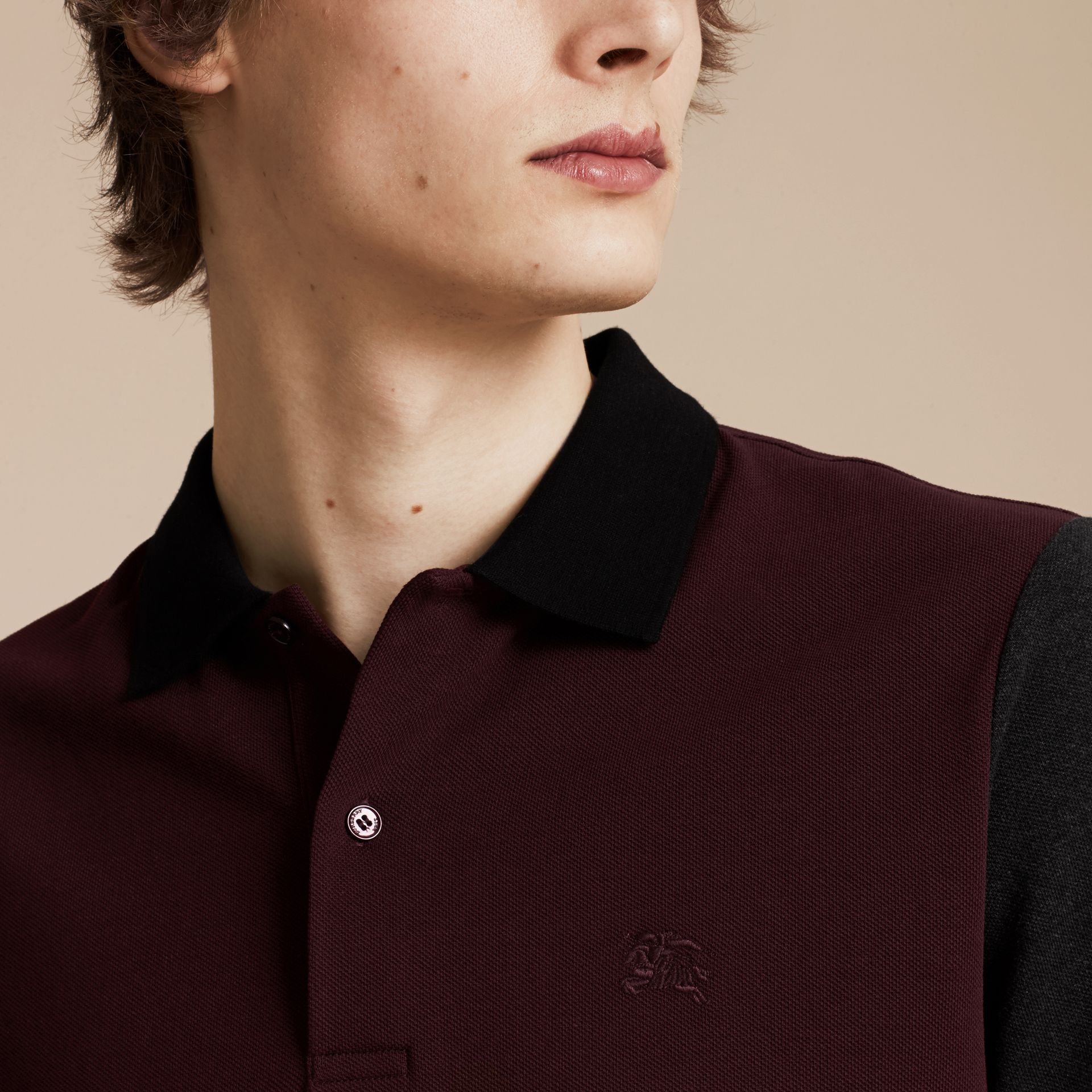 Deep claret Colour-block Cotton Piqué Polo Shirt Deep Claret - gallery image 5