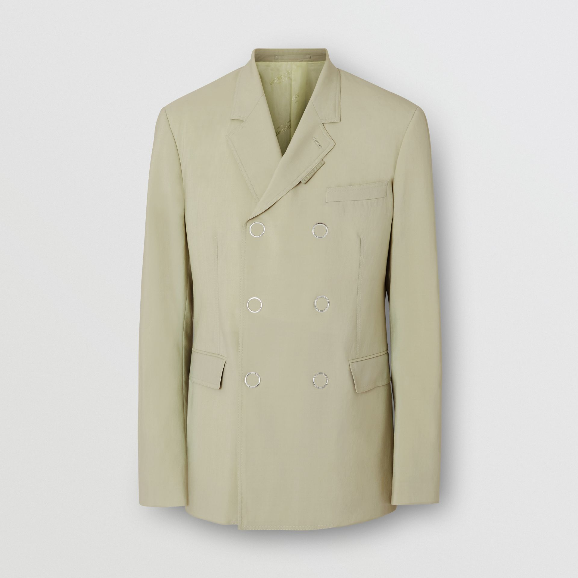 Slim Fit Press-stud Wool Tailored Jacket in Matcha | Burberry Canada - gallery image 3