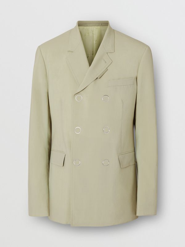 Slim Fit Press-stud Wool Tailored Jacket in Matcha | Burberry - cell image 3
