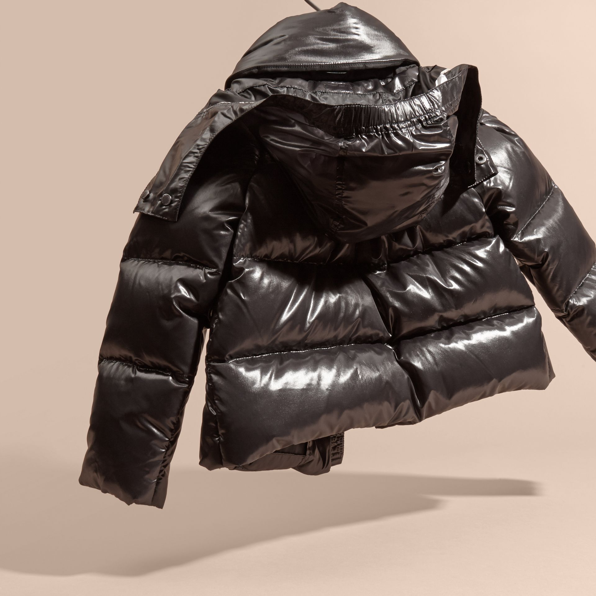 Black High-shine Down-filled Puffer Coat - gallery image 4
