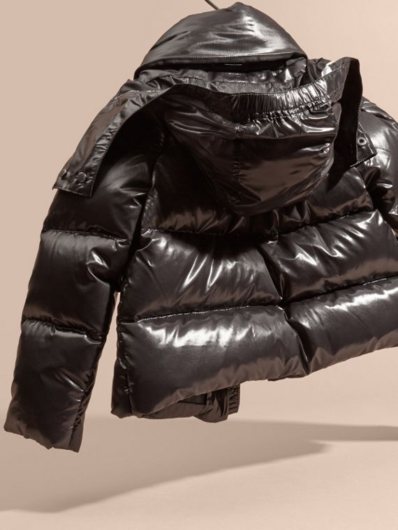 Black High-shine Down-filled Puffer Coat - cell image 3