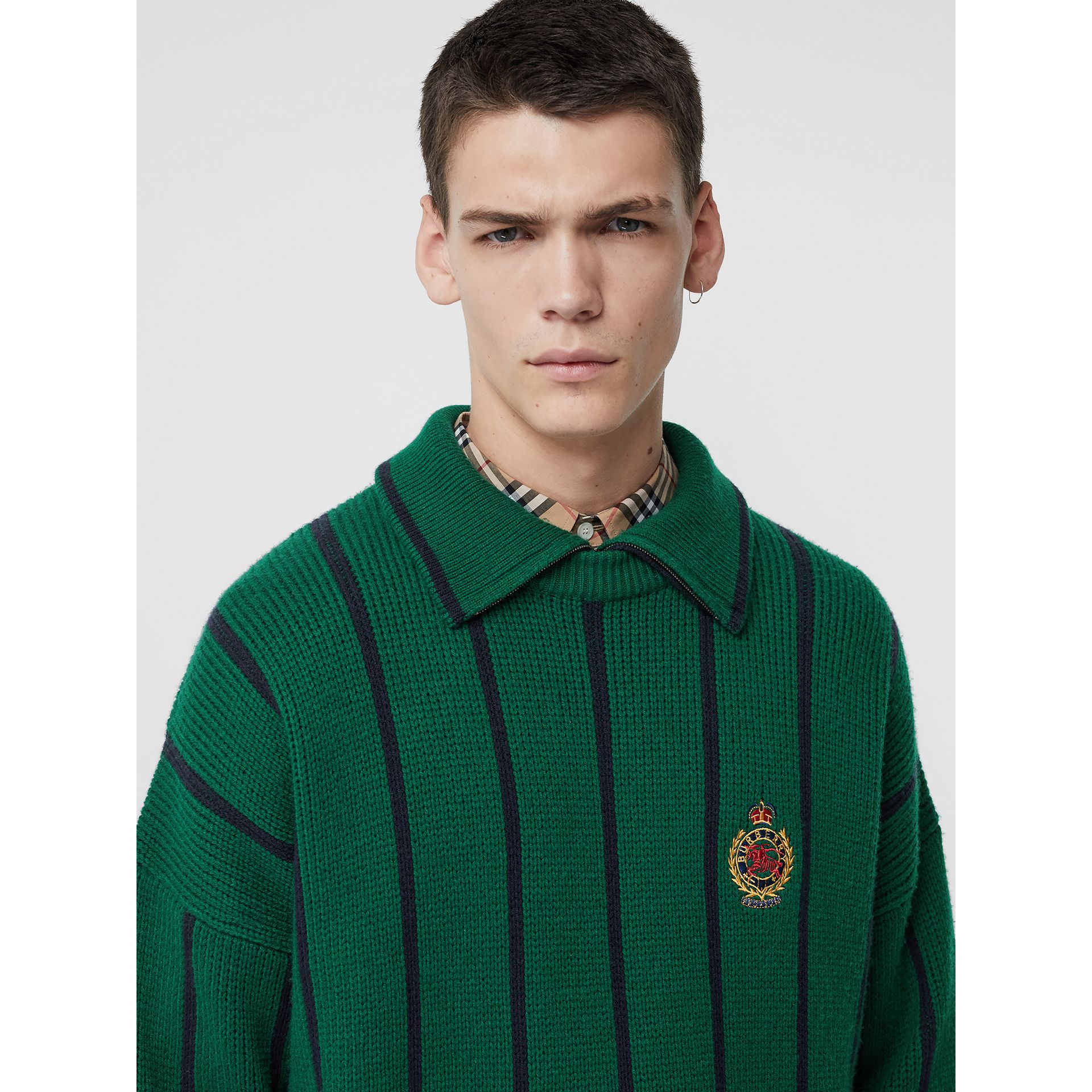 Striped Wool Cashmere Sweater in Bright Forest Green - Men | Burberry Australia - gallery image 1