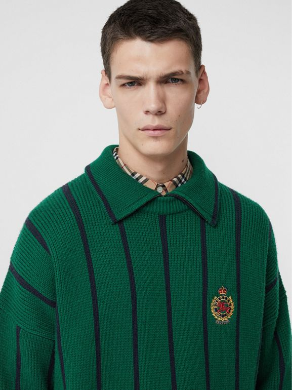 Striped Wool Cashmere Sweater in Bright Forest Green - Men | Burberry Australia - cell image 1