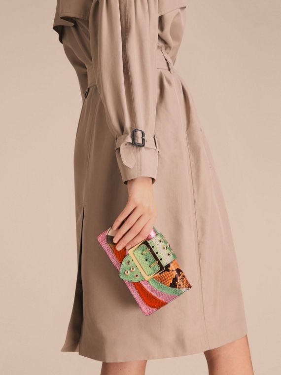 The Small Buckle Bag in House Check and Snakeskin - cell image 3