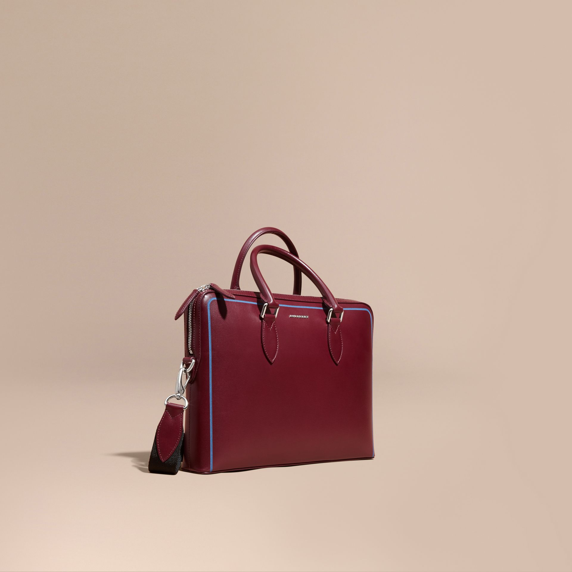 The Slim Barrow Bag in London Leather with Border Detail in Burgundy Red - gallery image 1