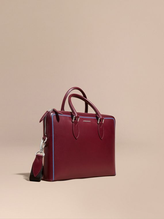 The Slim Barrow Bag in London Leather with Border Detail Burgundy Red
