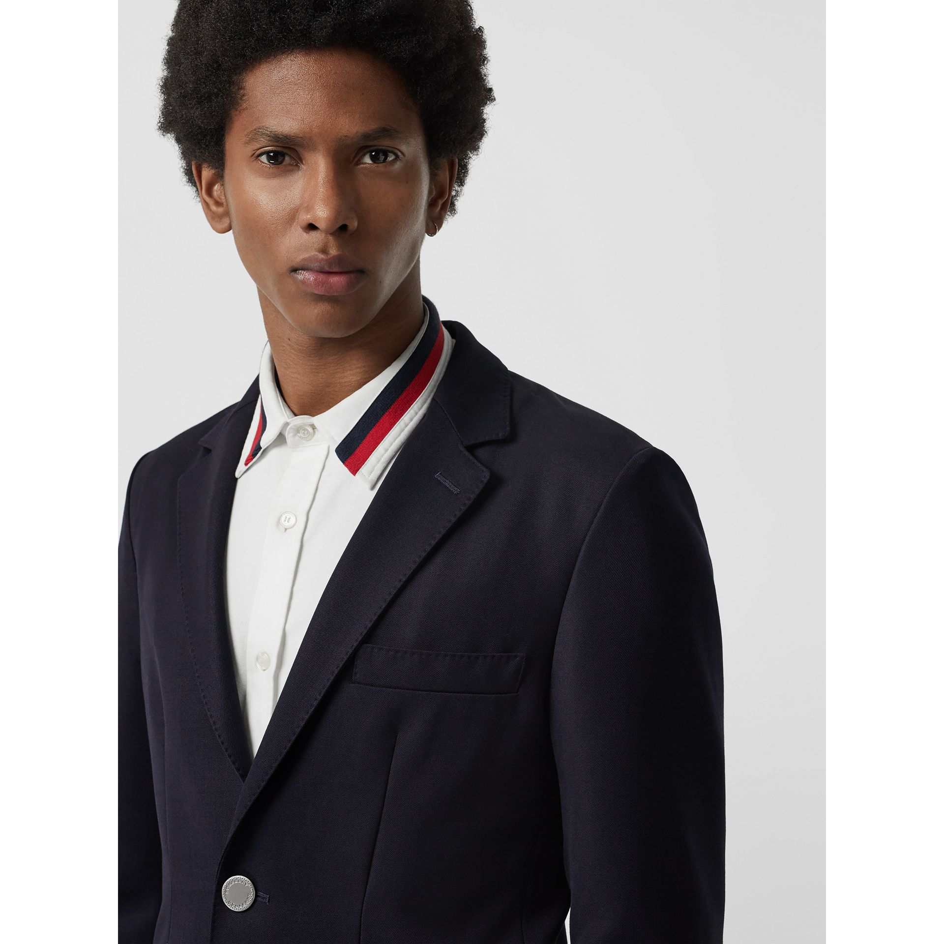 Slim Fit Metal Button Wool Gabardine Blazer in Navy - Men | Burberry Singapore - gallery image 1