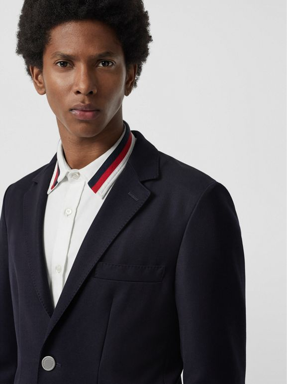 Slim Fit Metal Button Wool Gabardine Blazer in Navy - Men | Burberry - cell image 1