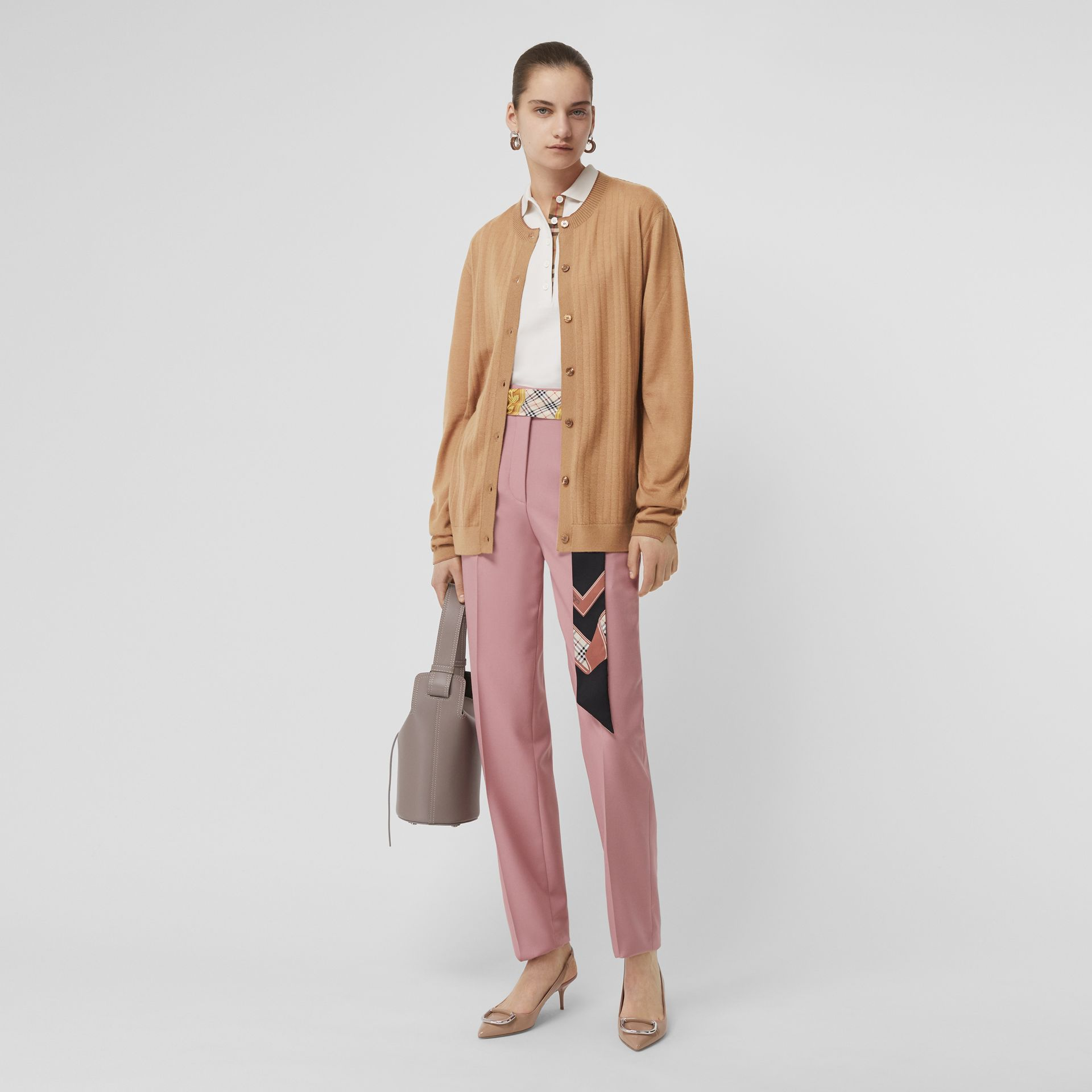 Rib Knit Cashmere Cardigan in Camel - Women | Burberry - gallery image 0