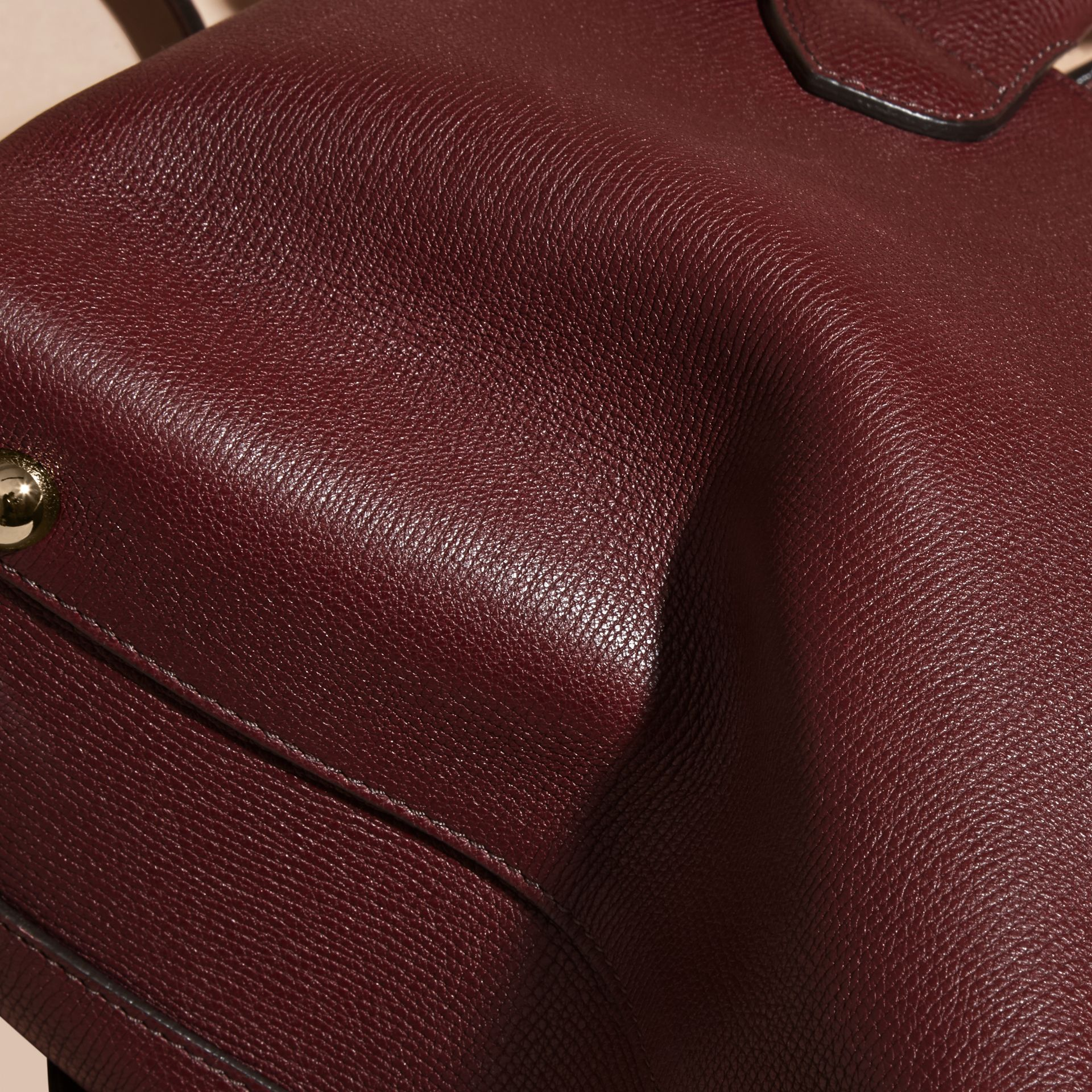 The Small Banner in Leather and House Check in Mahogany Red - Women | Burberry - gallery image 7
