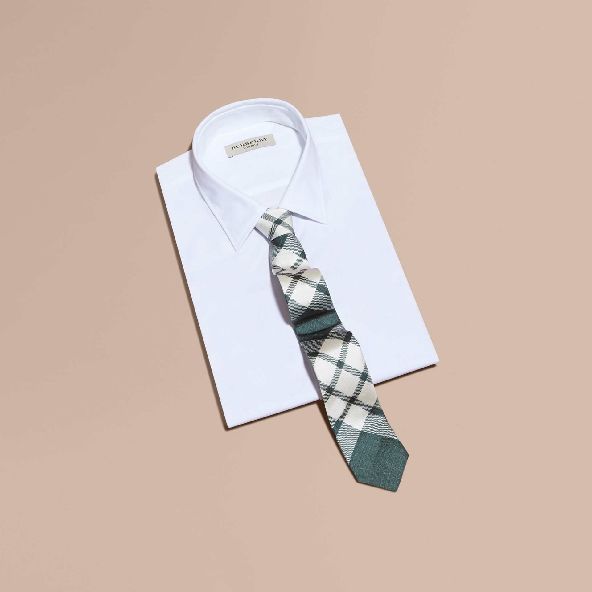 Deep green Slim Cut Check Silk Tie Deep Green - gallery image 3