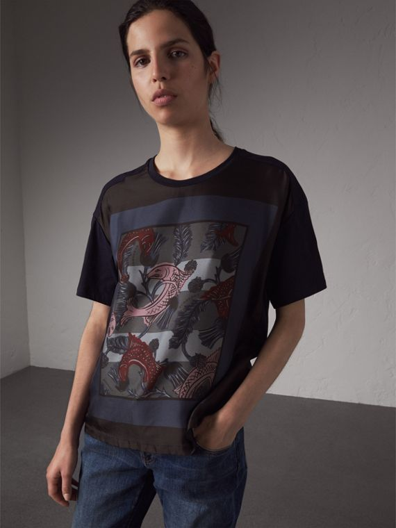 Beasts Print Silk Panel Cotton T-shirt in True Navy - Women | Burberry