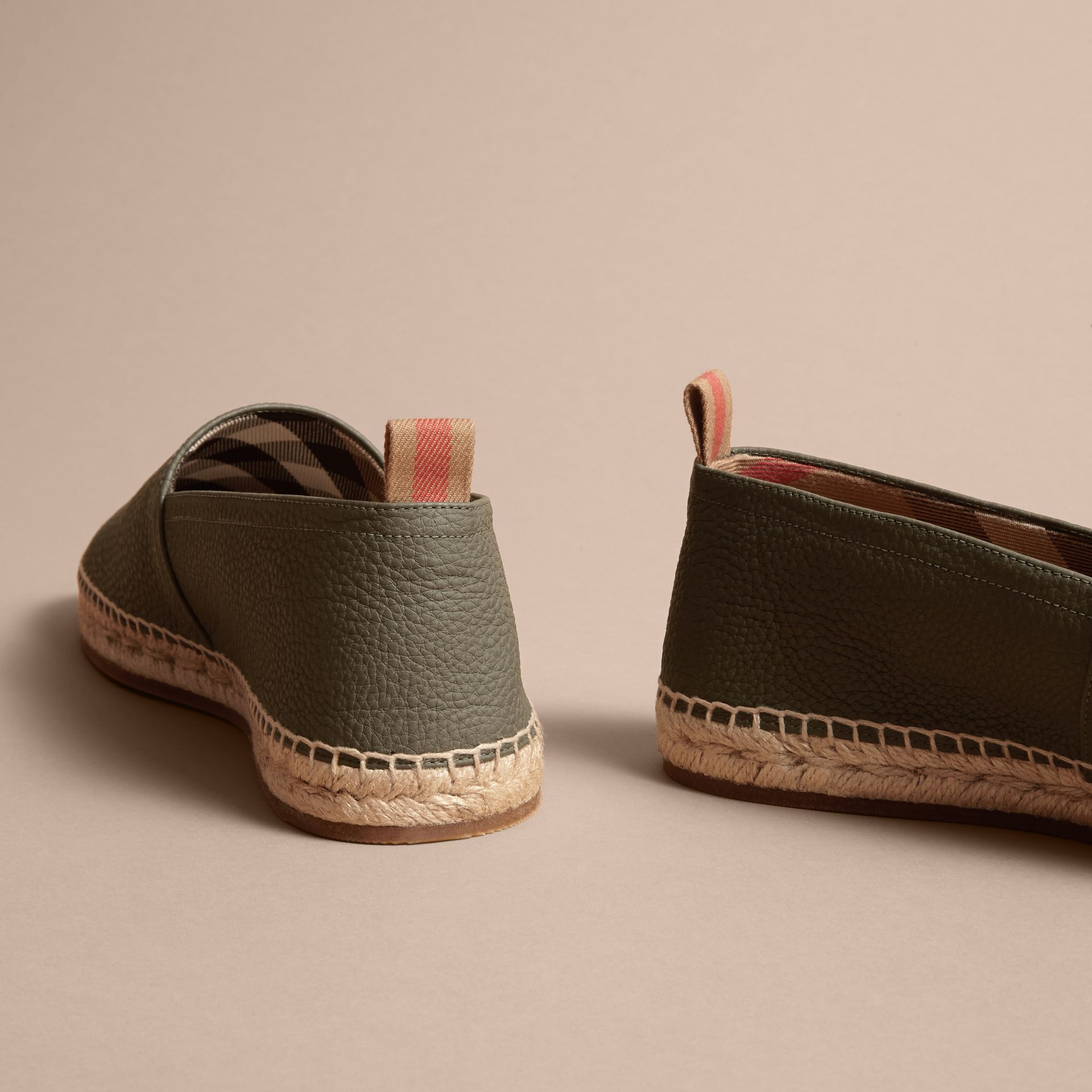 Check Detail Leather Espadrilles Khaki - gallery image 4