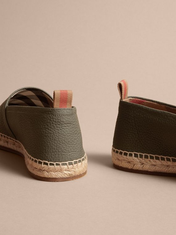 Check Detail Leather Espadrilles Khaki - cell image 3