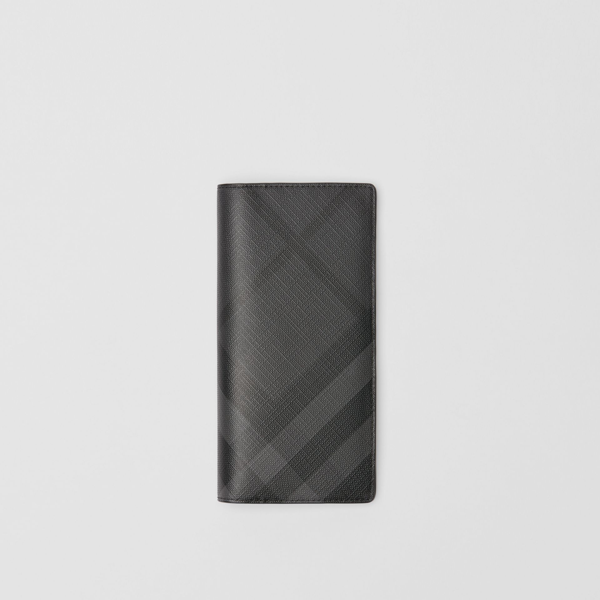 London Check and Leather Continental Wallet in Charcoal/black - Men | Burberry United States - gallery image 0