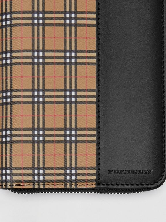 Small Scale Check and Leather Ziparound Wallet in Antique Yellow/black - Men | Burberry - cell image 1