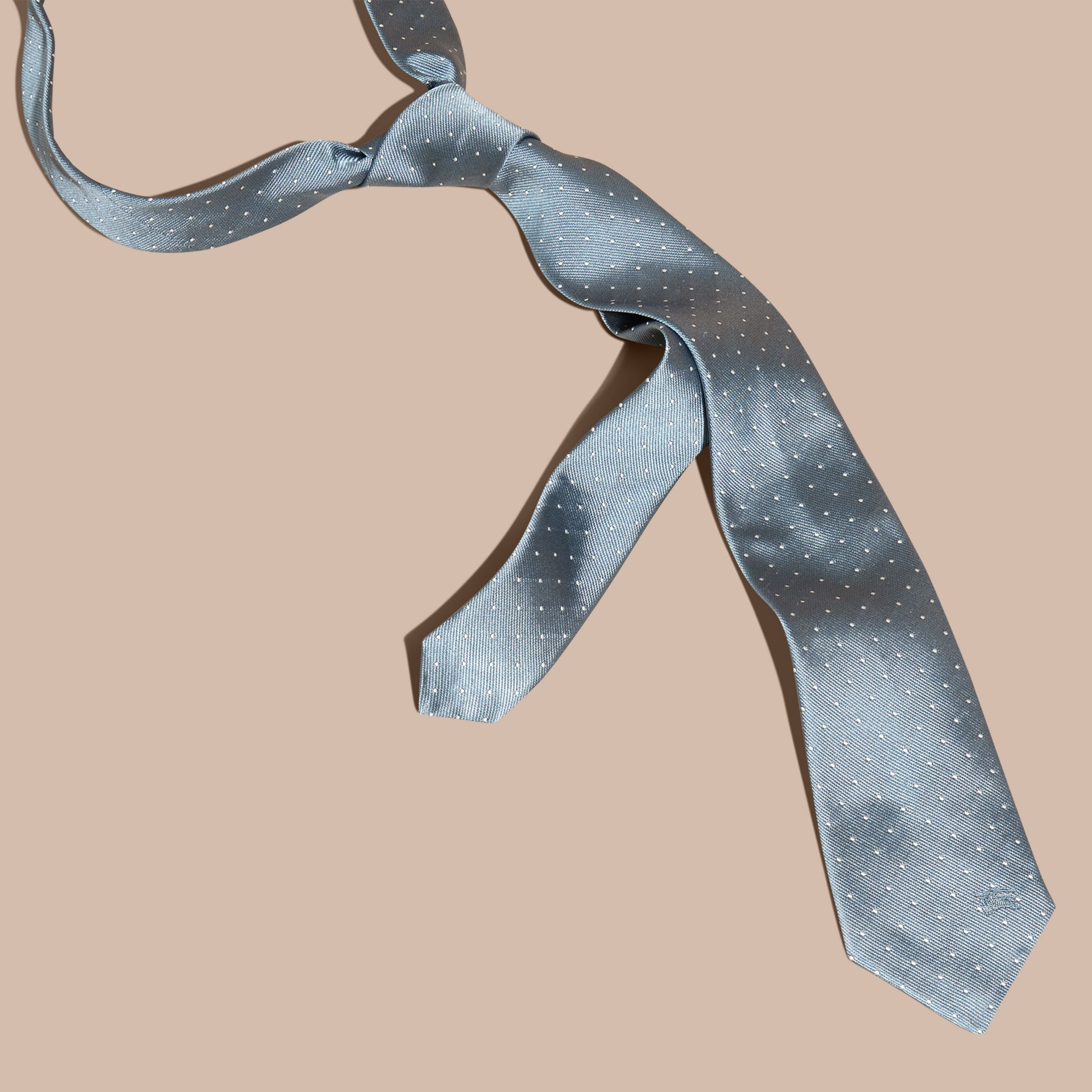 Light blue Modern Cut Polka Dot Silk Tie Light Blue - gallery image 3