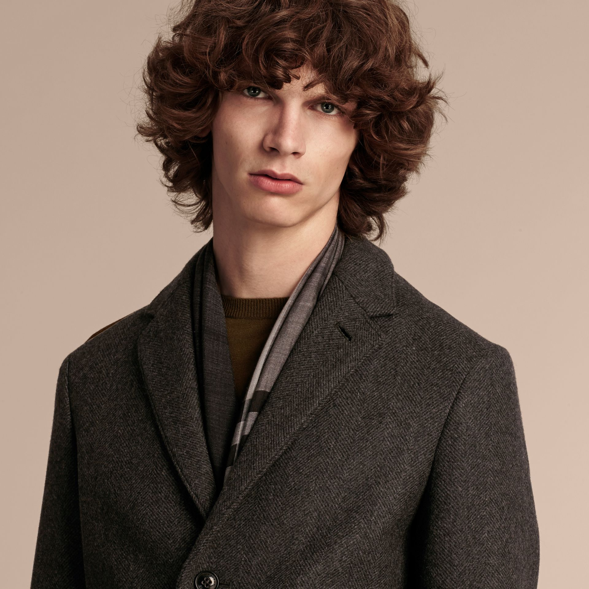 Charcoal melange Single-breasted Wool Blend Tailored Coat - gallery image 5
