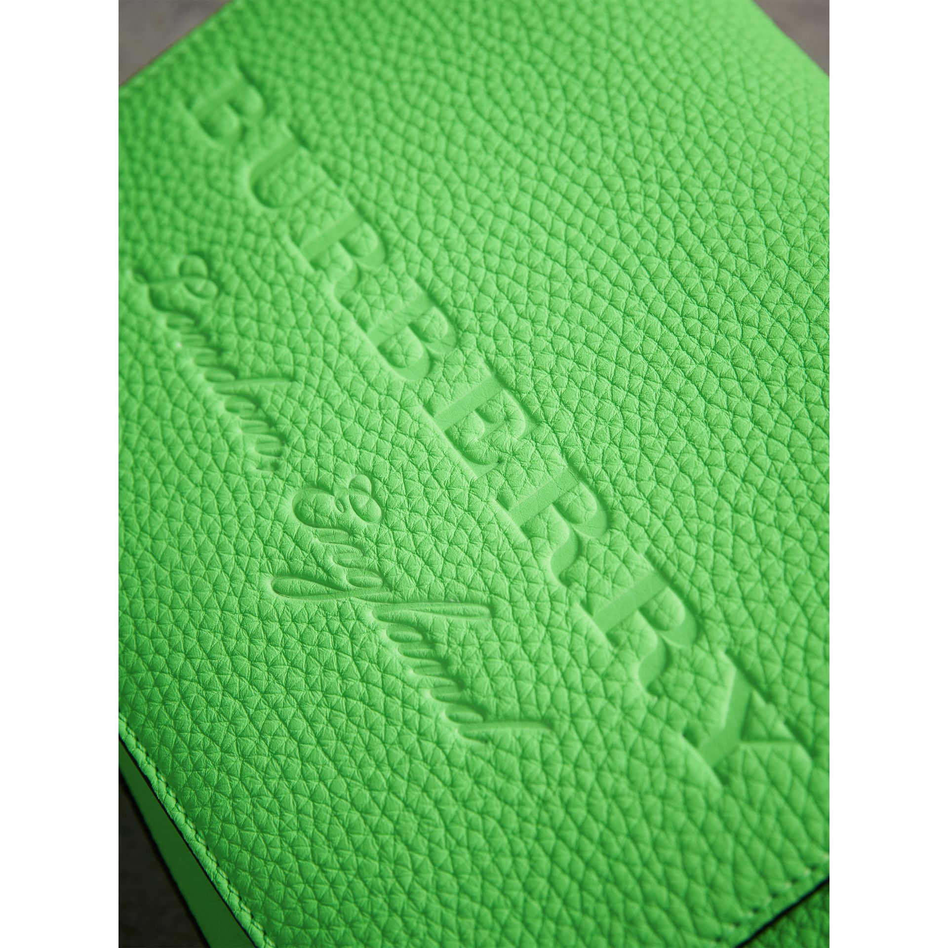 Small Embossed Neon Leather Messenger Bag in Green | Burberry - gallery image 1