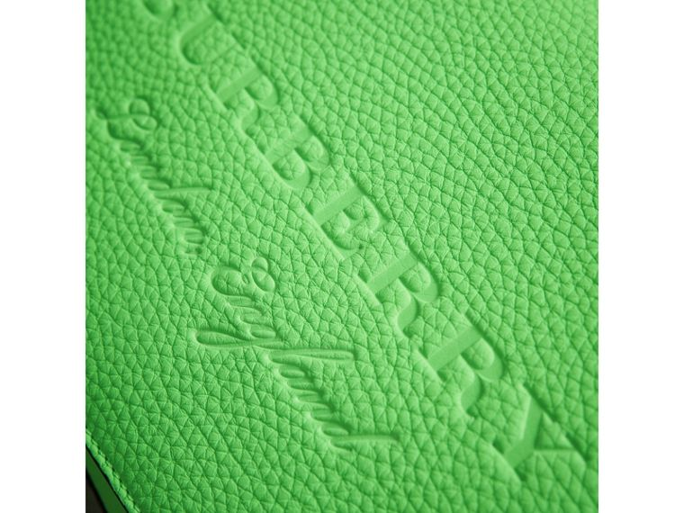 Small Embossed Neon Leather Messenger Bag in Green | Burberry - cell image 1